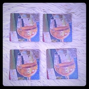 4 PC coaster set  world map in wine glasses new